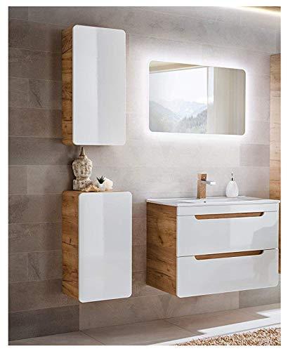 naka24 Badmöbel Set \'\'Aruba-Weiss/Eiche 80 Badmöbel Set mit Waschbecken Badmöbelset LED (Waschtisch Spiegel Hängeschrank Unterschrank)