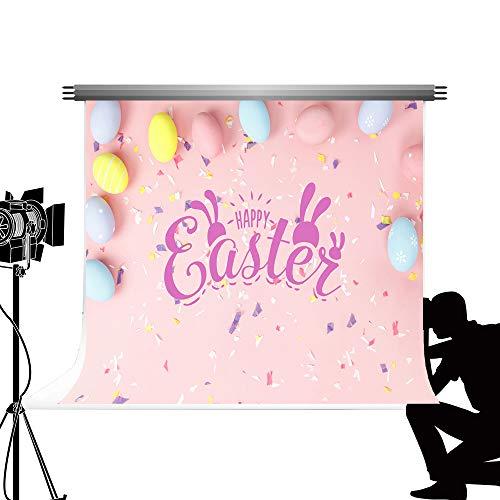 Kate 7x5ft/2.2x1.5m Ostern Hintergrund Bunte Osterei Kaninchen Hintergrund Partydekorationen Kulisse für Familie Kinder Fotografie Studio