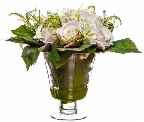 Cream Roses And White Hydrangeas With Fern And Berries In Glass Vase With Still Water – Artificial Silk Flowers –10 Piece Floral Arrangement In Acrylic Water – Perfect Gift – Beautiful Decoration – No Watering – No Maintenance – Timeless –