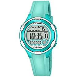 Calypso Women's Digital Watch with LCD Dial Digital Display and Turquoise Plastic Strap K5692/7