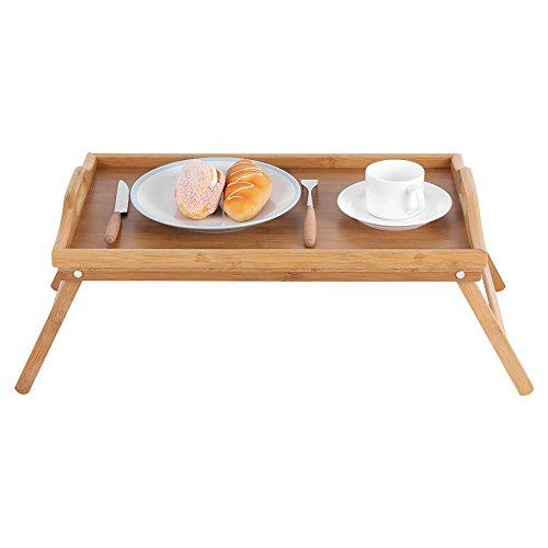 Huakii Bett-Behälter mit Tragegriffen, Frühstücks-Laptop-Schreibtisch-Tee-Nahrungsmittelumhüllungstabelle mit dem faltenden Bein