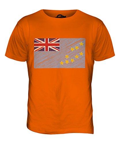 CandyMix Tuvalu Kritzelte Flagge Herren T Shirt Orange