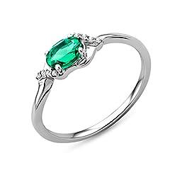 Idea Regalo - Miore Anello Donna Solitario Smeraldo Diamanti taglio Brillante ct 0.03 Oro Bianco 9 Kt/375