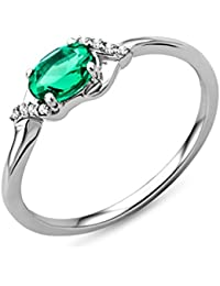 Miore - Bague - Or blanc 375 1000 (9 cts) - Emeraude 9271bef8db1d