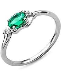 Miore Damen Ring 9 Karat 375 Gold Solitär Smaragd Diamant Brillianten 0.03 ct Weißgold