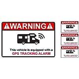 Alarme camping car logo 1 lot de 4 autocollant adhésif sticker - Taille : 8 cm