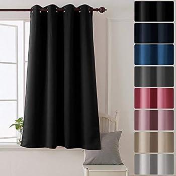 Deconovo Tenda Oscurante Termica Isolante con Occhielli per la Tua Casa 100% Poliestere 132x160 CM Nero Un Pannello