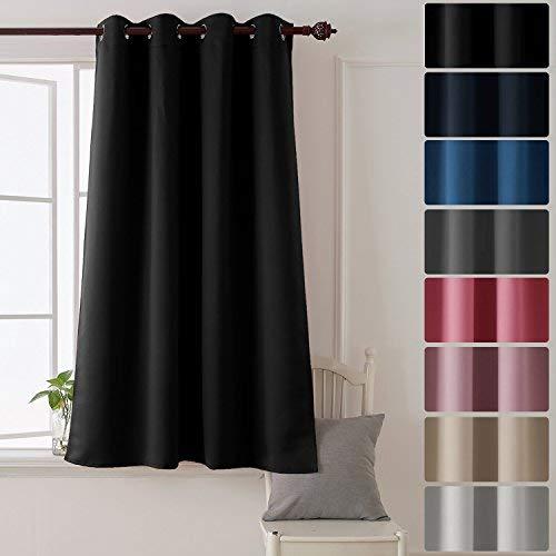 Deconovo tenda oscurante termica isolante per finestre soggiorno 100% poliestere 132x138 cm blu navy un pannello
