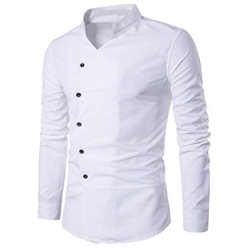 Feixiang camicia da uomo t-shirt shirts camicia camicie polo camicetta cappotto giacca maglione felpe hoodie pullover maniche lunghe moda personalità casual slim top m~l2 (bianco, m)