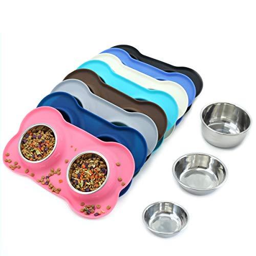 Vivaglory Ciotole per Cani In Acciaio Inox Rimovibili Con Vassoio Antiscivolo In Silicone Per Animali Domestici Con Ciotola Per Alimenti d\'acqua per Gatti