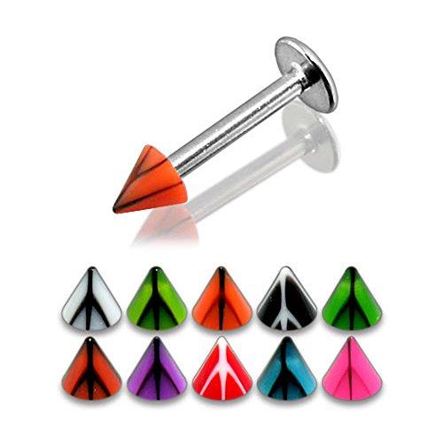 Bijou Piercing Labret pour lèvres en acier chirurgical 316L avec UV cône Basketball 3MM Lot de 10 pièces couleurs assorties.