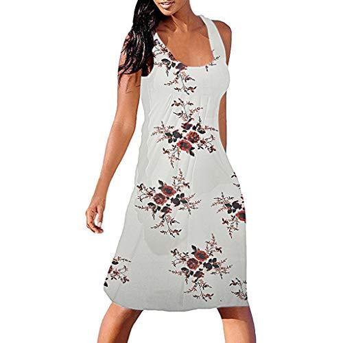 ea86e182b7923a friendGG Neu Frauen Sommer Sleeveless Floral Bedruckte BeiläUfige Beachwear  Kleid Sommerkleid Mode Druck Camisole Lange Baggy