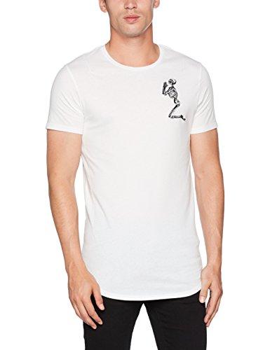 Religion Herren T-Shirt Praying Skeleton Longline Tee, Weiß (White 013), M