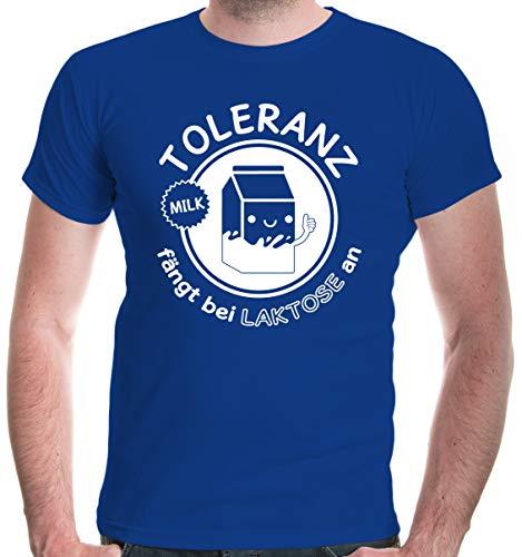 Shirt Toleranz fängt bei Laktose an | XL, Blau ()