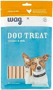 Amazon Brand – Wag Dog Treat, Chicken and Milk, 200 gram, 20 pieces