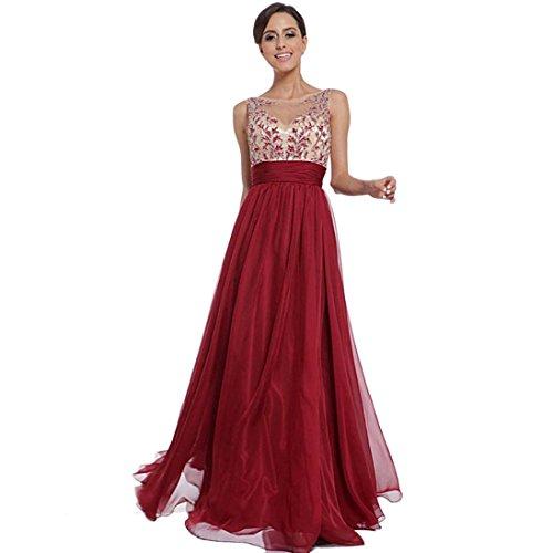 Empire-taille Pullover Strickkleid (Damen Kleider Yesmile Frauen Partykleid Elegant V-Ausschnitt Rückenfrei Maxi Lang Satin Träger Kleid Abendkleid Cocktailkleid (Rot, XL))