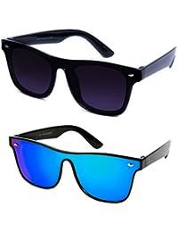 TheWhoop Combo Goggles Black And Mirror Blue Wayfarer Sunglasses For Men, Women, Boys, Girls