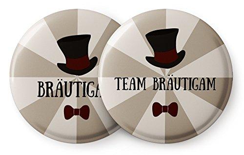Spielehelden 12er Set JGA Buttons für Männer mit Zylinder - Anstecker JGA für den Bräutigam und Seine Crew zur Bachelor Party - Button Junggesellenabschied