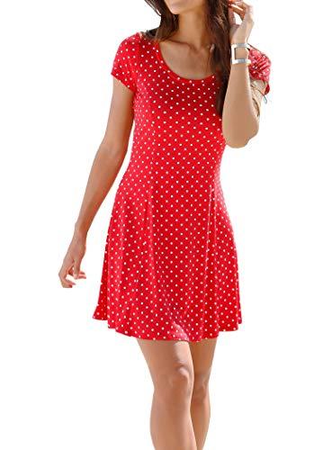 TrendiMax Sommerkleid Damen Sexy A-Line Kleid Rundhals Kurzarm Minikleid Strandkleid