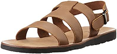 Louis Philippe Men's Tan Leather Sandals and Floaters - 10 UK/India (44 EU)