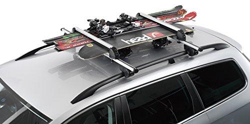 Skihalter Skiträger Dachträger Relingträger Snowboardhalter Snowboard Ski Träger 6er ALU für 6 Paar Ski / 4 Paar Langlaufski / 2 Snowboards inkl. 2 Schlüssel + Montagematerial
