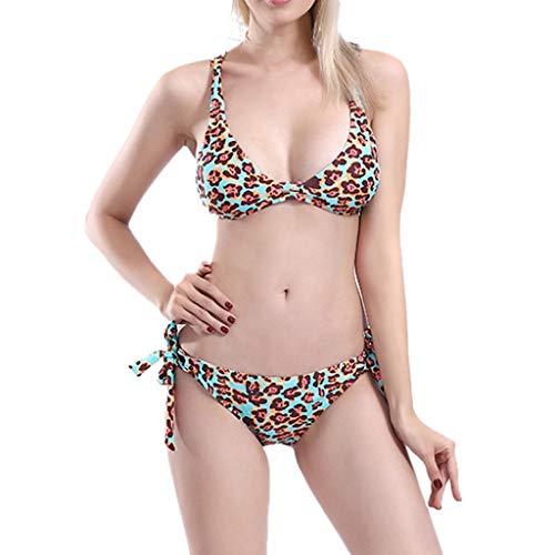 Rosennie Damen Sexy Bikini Damen Leopard Drucken Bademode Frauen Print Bandage Tankini Set Bikini...