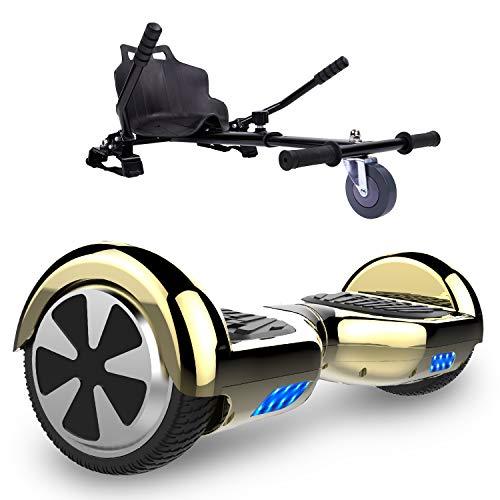 GeekMe Hoverboard mit HoverKart 6,5 Zoll Selbstabgleich Roller UL2272 Sicherheit Zertifiziert eingebaute LED-Leuchten -700W, Geschenk für Kinder und Erwachsene ...