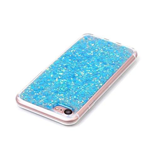 iPhone 7 Hülle, Vandot Transparent Glitzer Diamant Schutzhülle für iPhone 7 Handyhülle Glitter Bling Shining Luxus Flüssiges Liquid TPU Silikon Zurück Case Cover Dynamisch Treibsand Fließen Schwimmend Sequins Blau