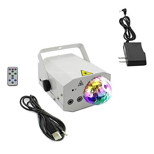 ✌WTD! Disco-Kugel beleuchtet 10W RGB-Röhrenblitz-Lichter drehen Scheinwerfer Disco-Kugel-Projektor-Ton/Fernsteuerungsmodus-Stadiums-Beleuchtung für -419 (Farbe : Weiß) (Disco Kugel Beleuchtung)