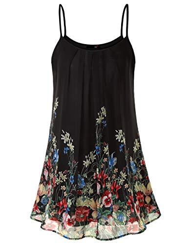 DJT FASHION Blusenkleid Damen Muster Casual Spaghetti Chiffonkleid Blumen Sommer Minikleid Strand A-Linie Blumenkleid Schwarze Floral L -