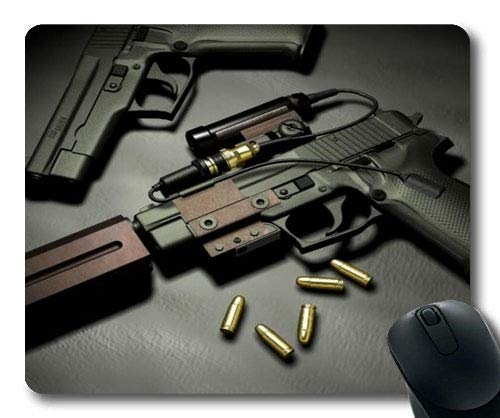 Gaming Mauspad, Maschinengewehr, Waffe, Mauspad mit genähten Kanten (Automatisches Maschinengewehr)