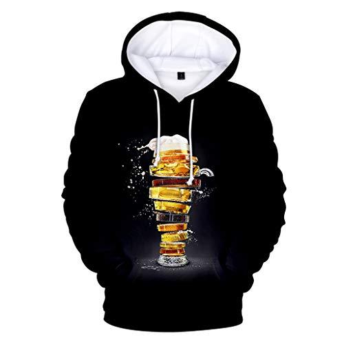 VANMO Herren Hoodie,Oktoberfest Herren Kleidung 2019 Neu Herren Beiläufiges langärmliges Bier Festival neues Drucken Kapuzenpulli Sweatshirt der Art-3D Mode Prost Lässiges Kurzarm-T-Shirt Weich Bequem (Beer Hunter Kostüm)