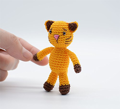 ON SALE, Cat miniature toy, amigurumi cat, crochet Kitty, orange cat, charm luck cat, stuffed animal, small present