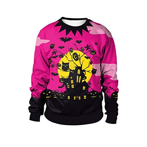 JXILY Sweatshirt Herbst Winter Langarm Pullover 3D Digital Print Trainingsanzug Halloween Maskerade Coat Unisex,Purplepink,XL