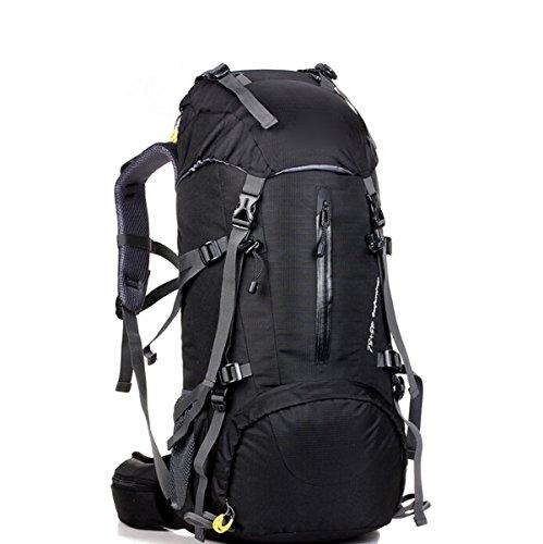 50L Große Kapazität Im Freien Bergsteigen Tasche Camping Sport Paket Mit Regen Bedeckt,Darkblue Black