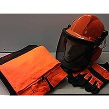 Kit de seguridad para motosierra – pantalones sin asiento/capas, guantes grandes y casco