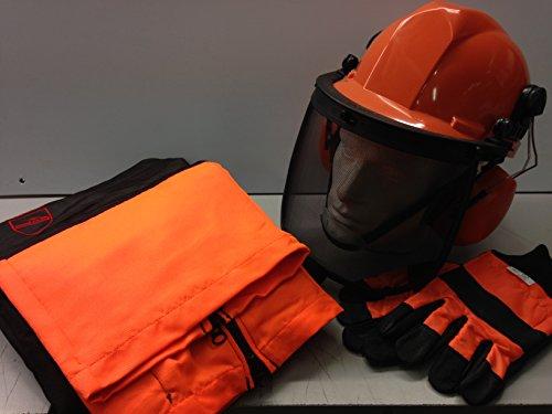 Chainsaw Safety kit–Rocwood/pantaloni da equitazione, grande, guanti e casco con sottogola