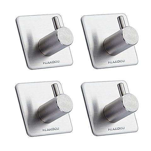 PILAAIDOU Kitchen Bathroom Adhesive Hooks,Hat Towel Robe Coat Home Furnishing Hooks -Sus304 Stainless Steel Hanger for Kitchen Bathrooms Lavatory