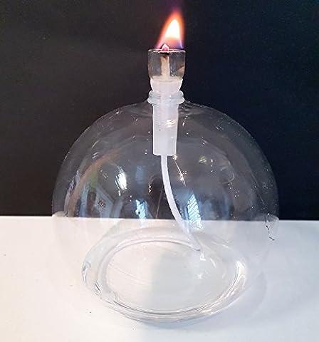 Öllampe runde Glas Petroleumlampe aus klarem Glas zum hinstellen mit Kindersicherem Dochthalter und 3 mm Rundocht, Tischlampe mundgeblasenes Kristallglas Durchmesser ca. 10 cm Höhe ca 9,5 cm Oberstdorfer Glashütte