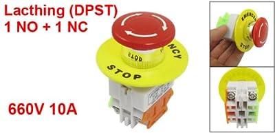 Red Mushroom Gap 1NO 1NC DPST Notfall Stopp Push Button Switch AC 660V 10A