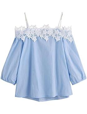 HARRYSTORE 2017 Moda mujer de verano de impresión floral T-Shirt de tres cuartos de manga de la blusa del hombro