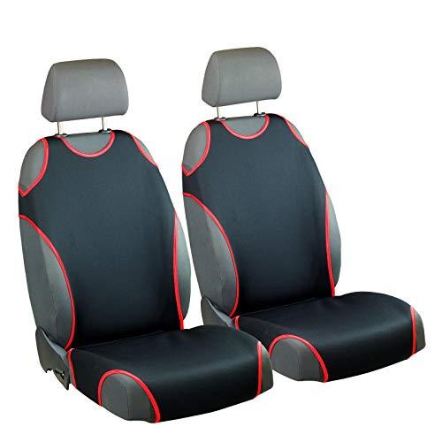 Zakschneider Matrix Sitzbezüge - Vorne Sitzbezüge - für Fahrer und Beifahrer - Farbe Premium Schwarz Rot - Toyota Matrix Sitzbezüge Auto
