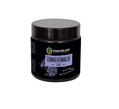 Öl Salbe (Kräuterland Schwarzkümmelöl Salbe, Naturprodukt, 110ml Glastiegel, für Haut und Gesicht, hochwertiges und sehr dickes Glas)
