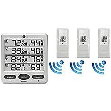 LCD Wireless Termometro Del Tempo Di Interni / Esterni A 8 Canali (3 Sensori Remoti)