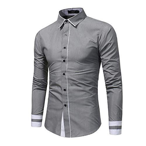 Herren Langarmhemd Slim Fit Hemd Button Turn-Down Collar für Business Freizeit Hochzeit -