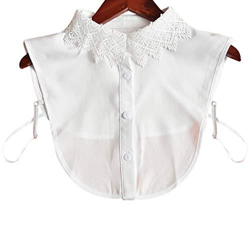 Gefälschte Kostüm Wimpern - Lunji Frauen Mädchen Bluse Sweatshirt Weste Halb Hemd Bluse Gefälschte Stehkragen Wimpern Trim Abnehmbare Hemdkragen (2)