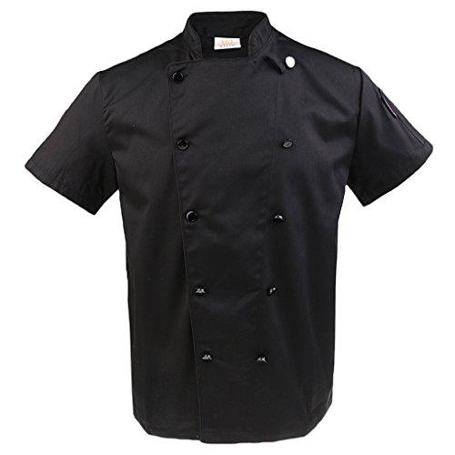 Double Breasted Mantel Chef (Baosity HERREN FRAUEN SCHWARZ WEISS CHEFS JACKET FULL/HALF SLEEVE BANKETT WAITER KÜCHENCOAT - Schwarz, 2XL)