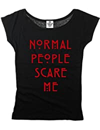 American Horror Story Ladies T-Shirt Normal People Scare Me cotone nero
