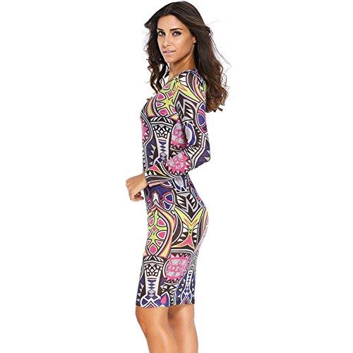 PU&PU Femmes Occasionnels / Sorties Contrast Impression ronde à manches longues col en V à manches longues purple
