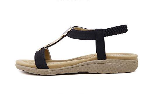 Minetom Femmes Flattie Sandale Flip Flops Sandales avec Bohême Été Chaussure Plage Voyage Vacances Noir